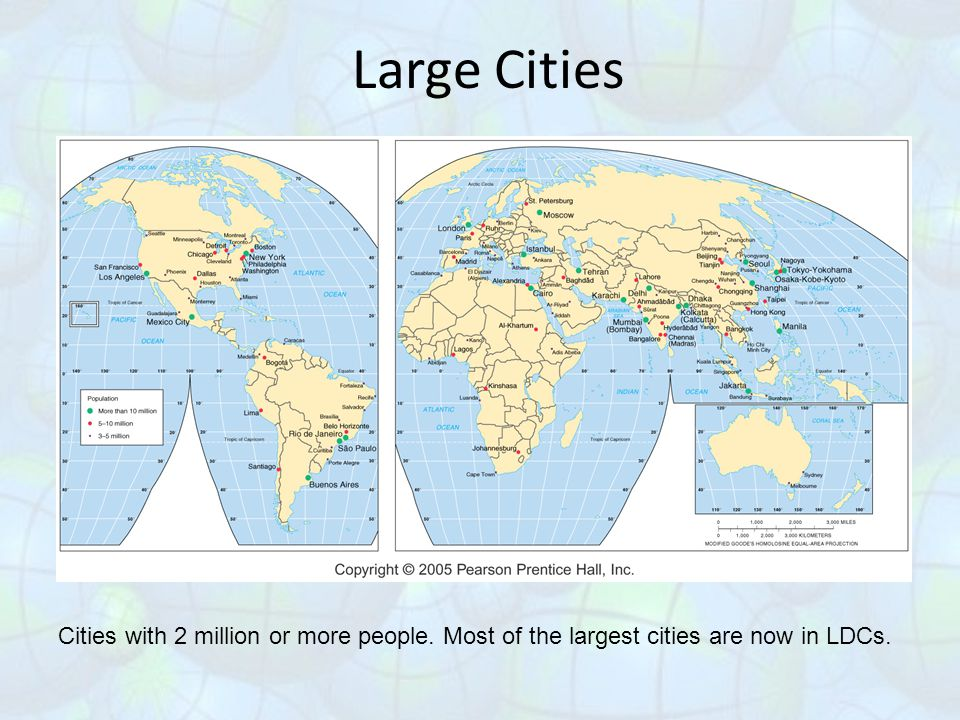 Large Cities Cities with 2 million or more people. Most of the largest cities are now in LDCs.