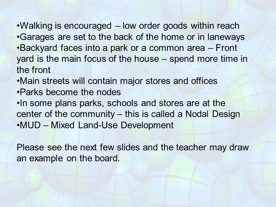 Walking is encouraged – low order goods within reach
