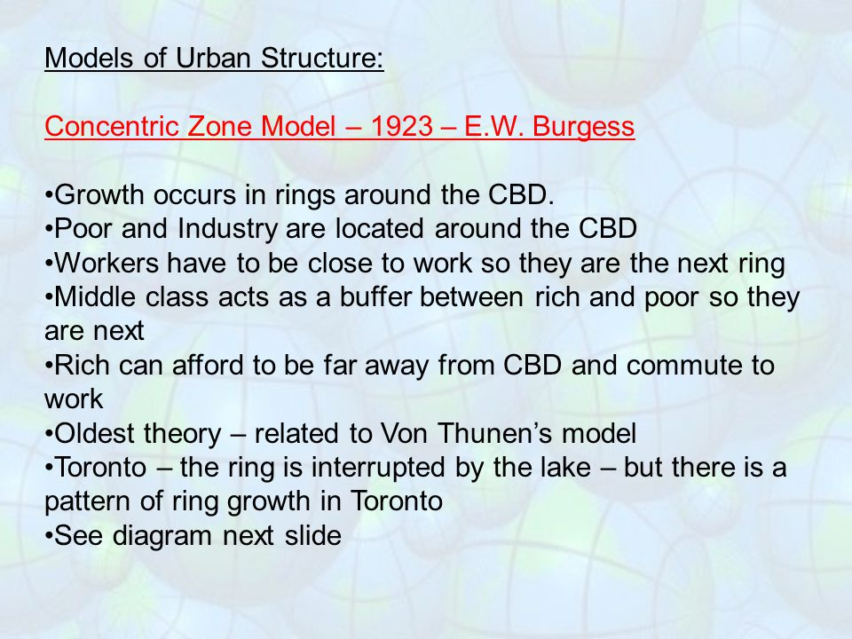 Models of Urban Structure: