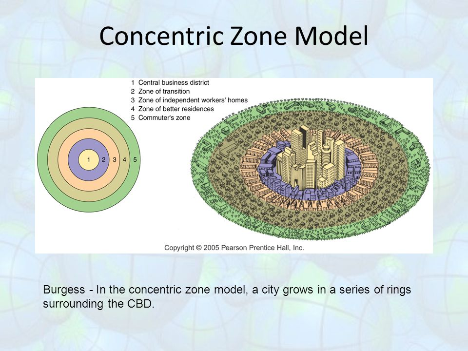 Concentric Zone Model Burgess - In the concentric zone model, a city grows in a series of rings surrounding the CBD.