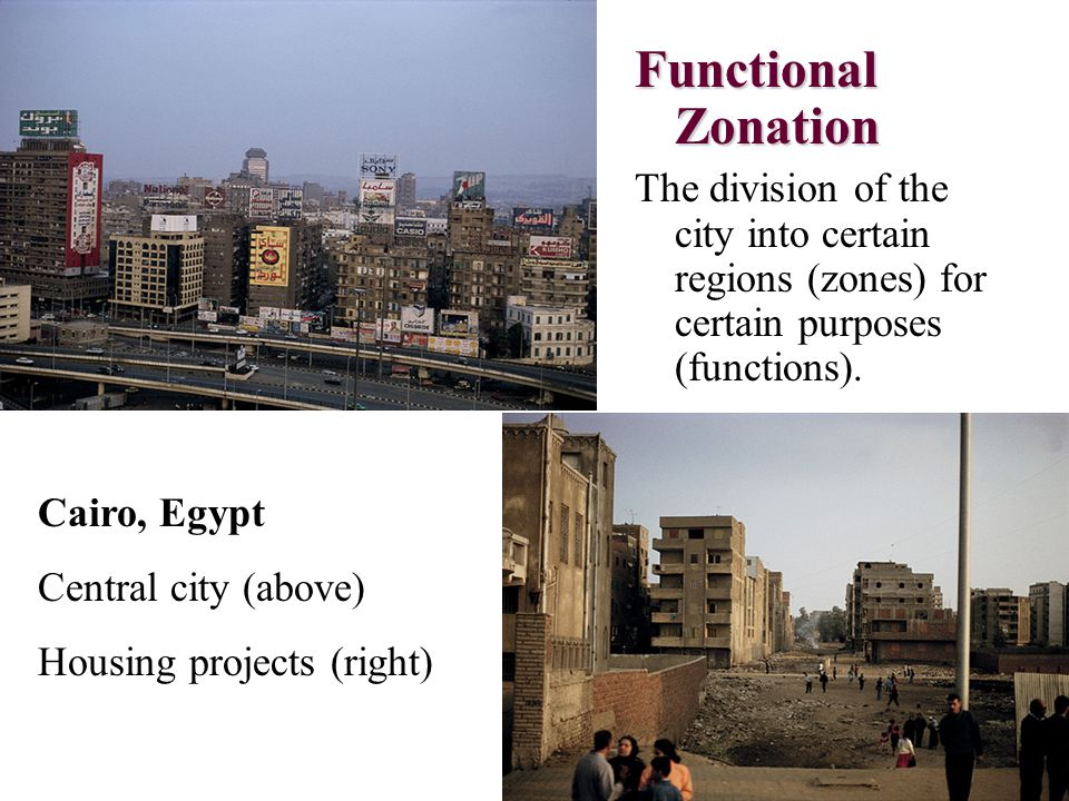 Functional Zonation The division of the city into certain regions (zones) for certain purposes (functions).