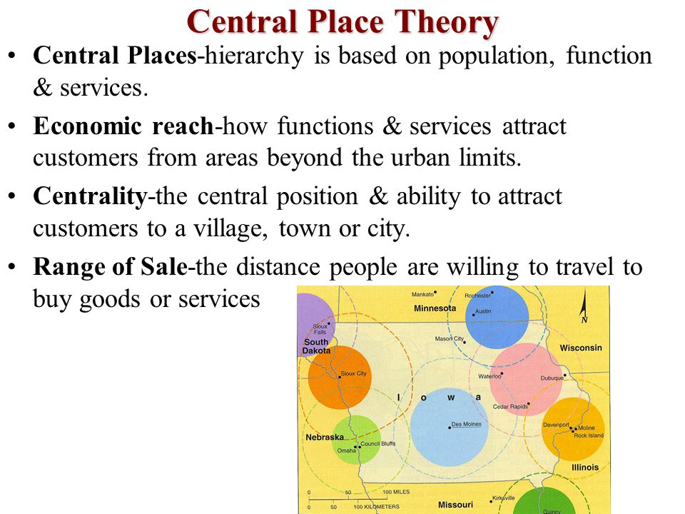 Central Place Theory Central Places-hierarchy is based on population, function & services.