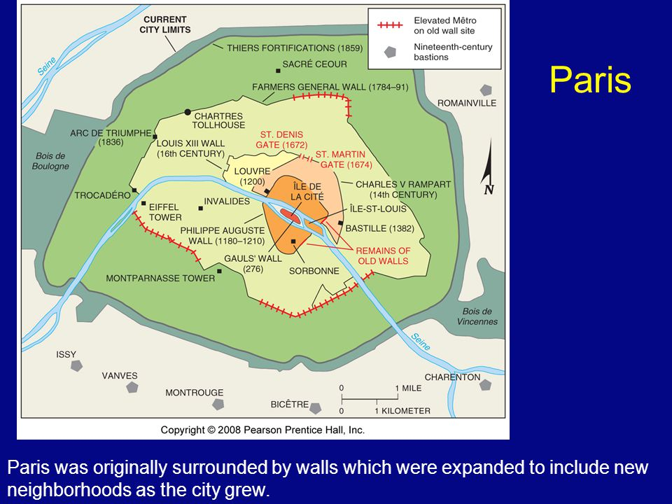 Paris Paris was originally surrounded by walls which were expanded to include new neighborhoods as the city grew.