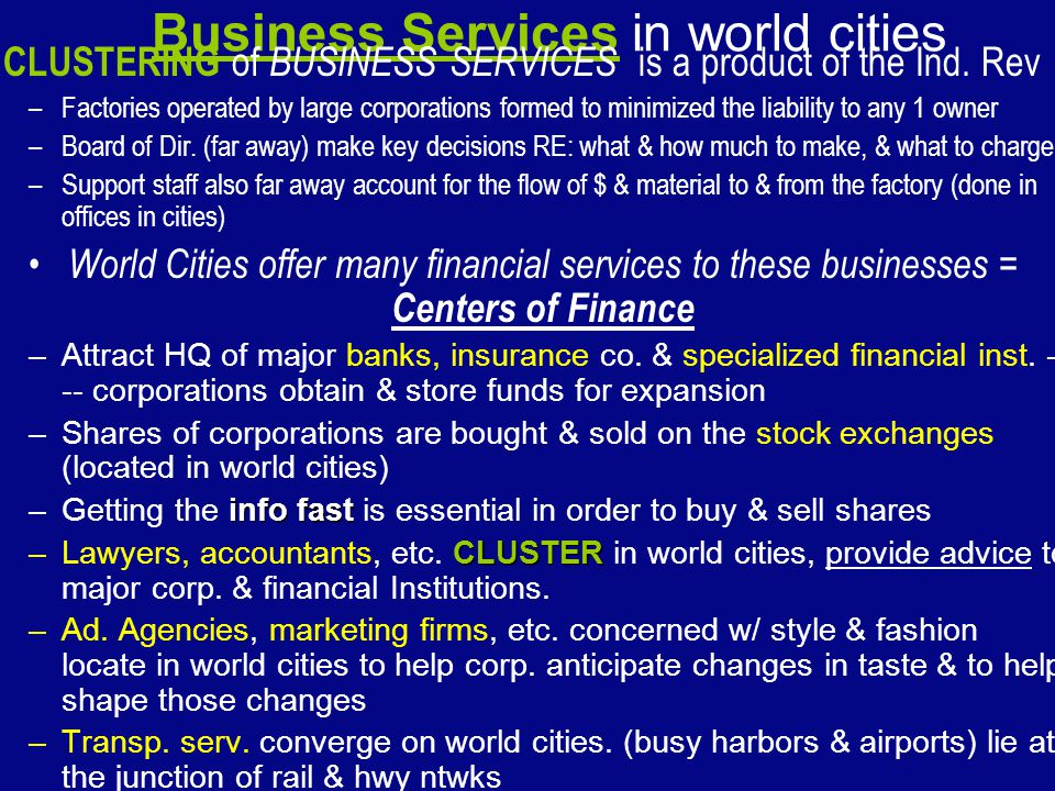 Business Services in world cities