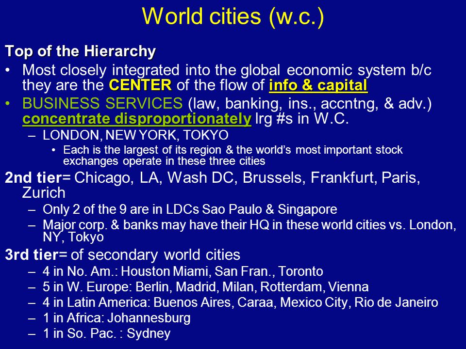 World cities (w.c.) Top of the Hierarchy