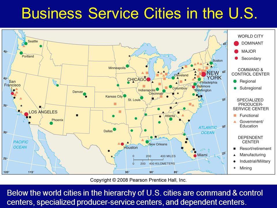 Business Service Cities in the U.S.