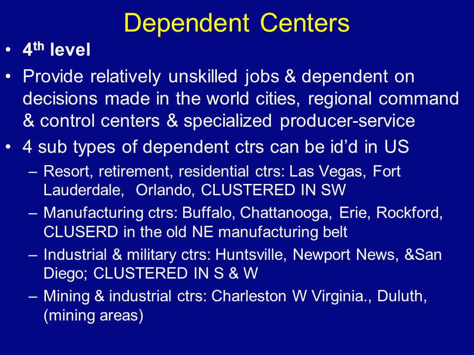 Dependent Centers 4th level