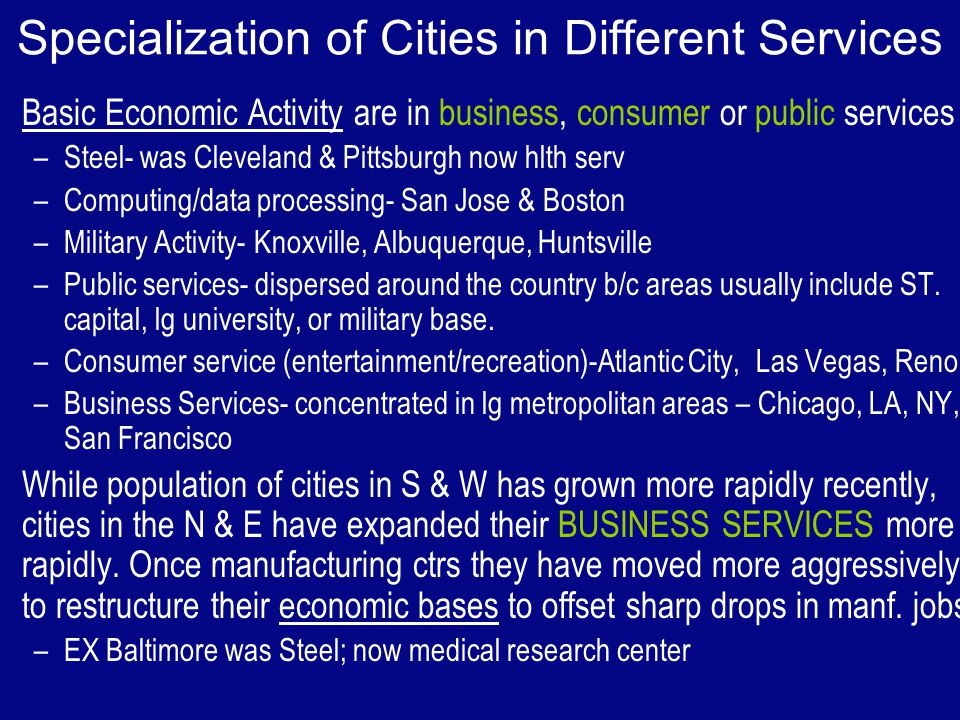 Specialization of Cities in Different Services