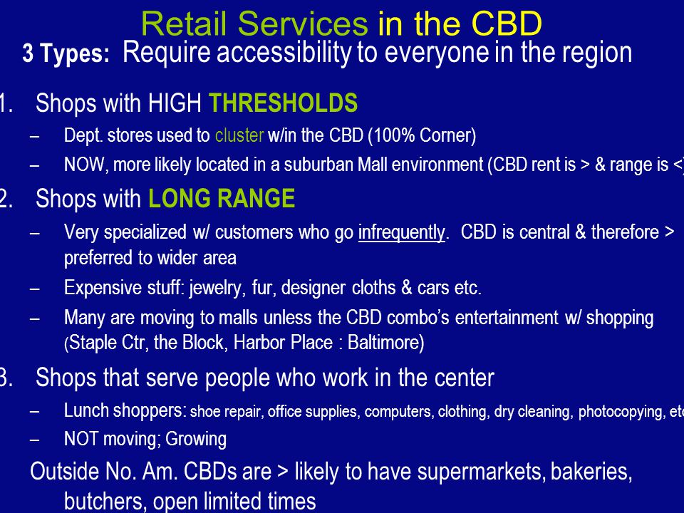Retail Services in the CBD