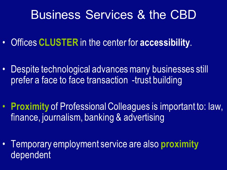 Business Services & the CBD