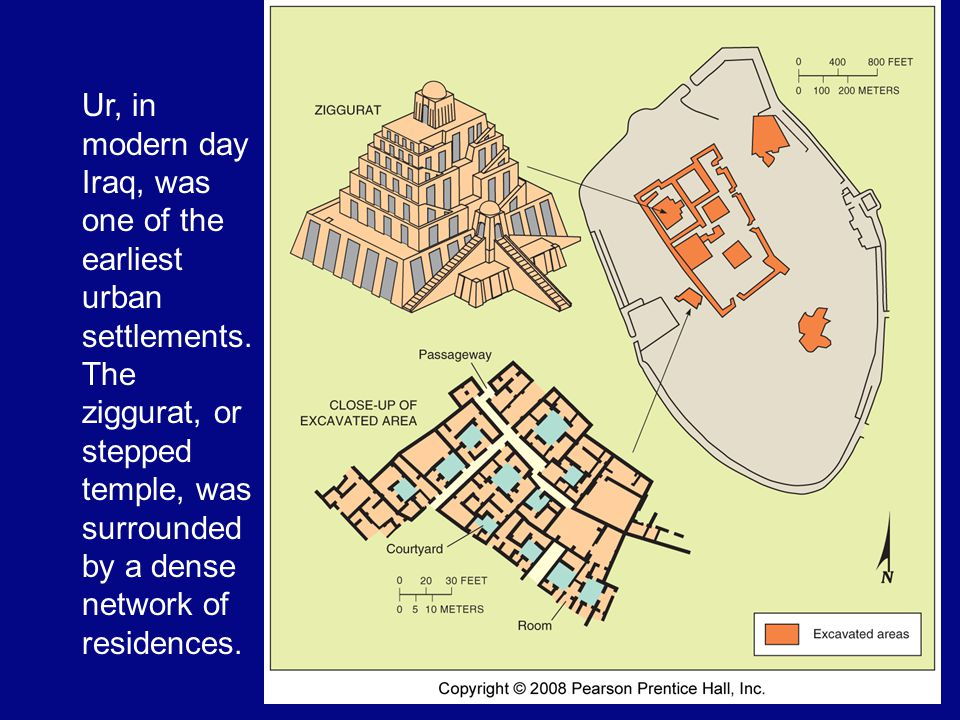 Ur, in modern day Iraq, was one of the earliest urban settlements