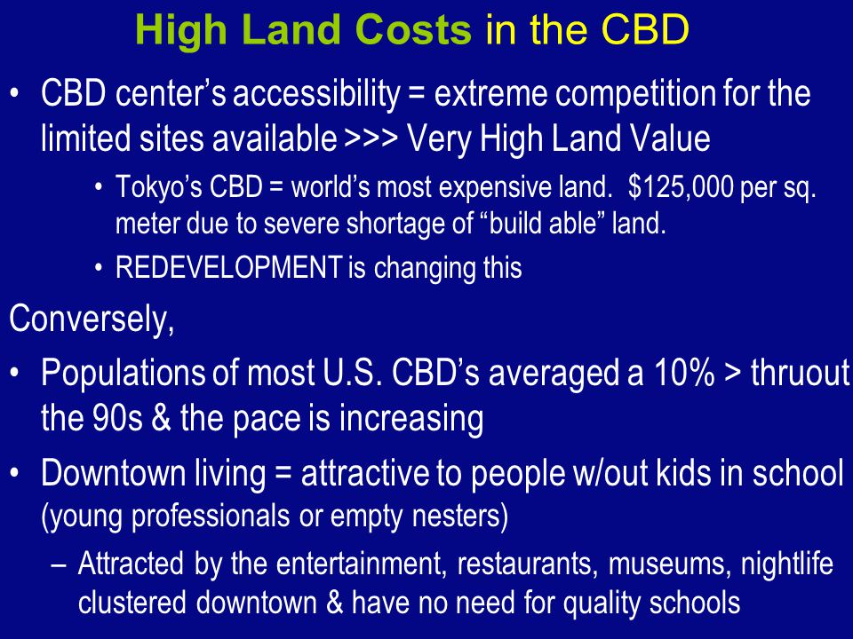High Land Costs in the CBD