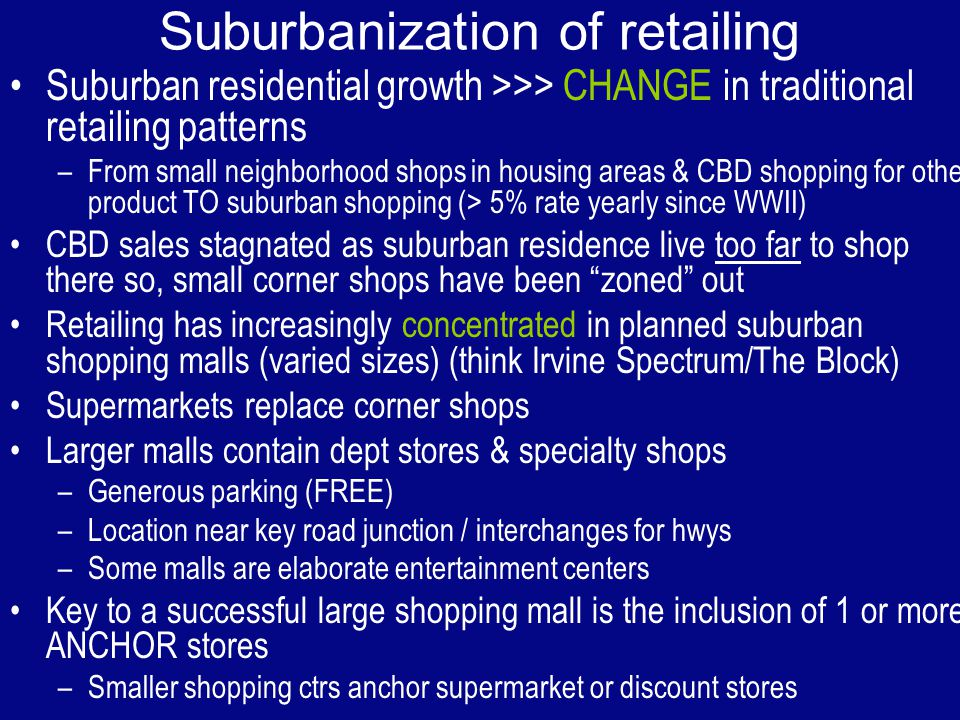Suburbanization of retailing