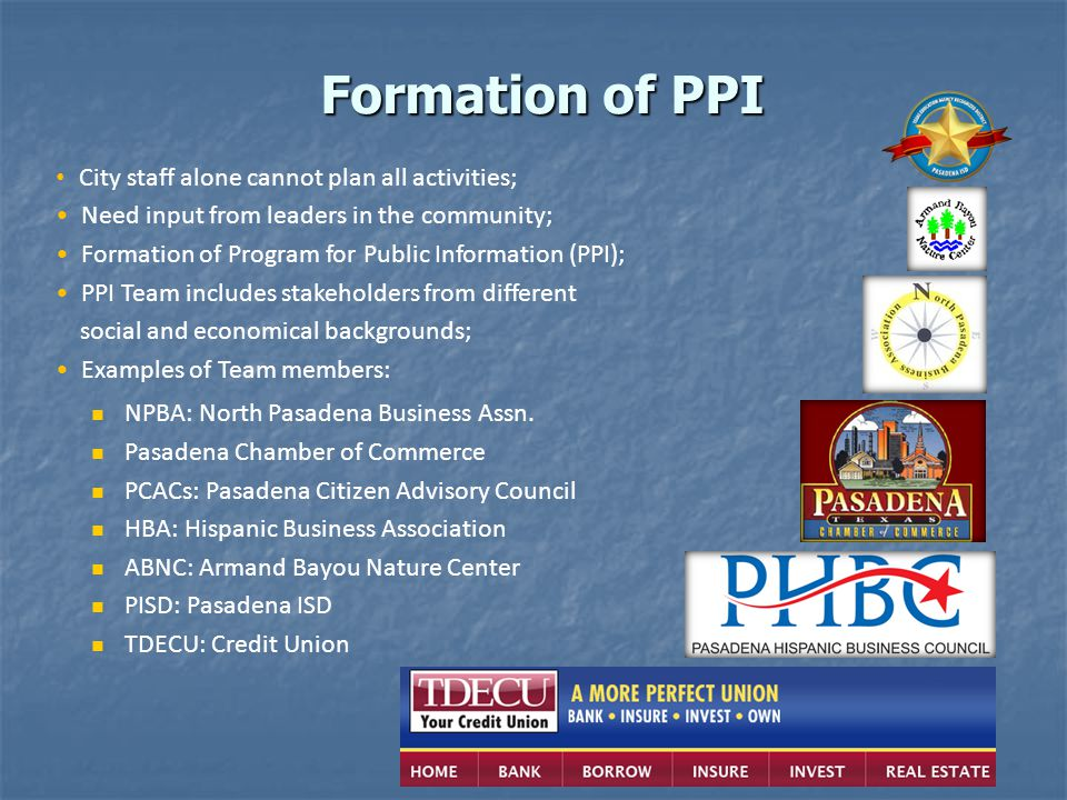Formation of PPI City staff alone cannot plan all activities;