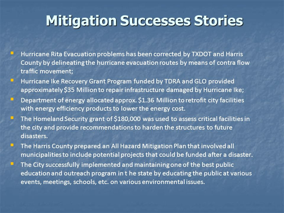 Mitigation Successes Stories