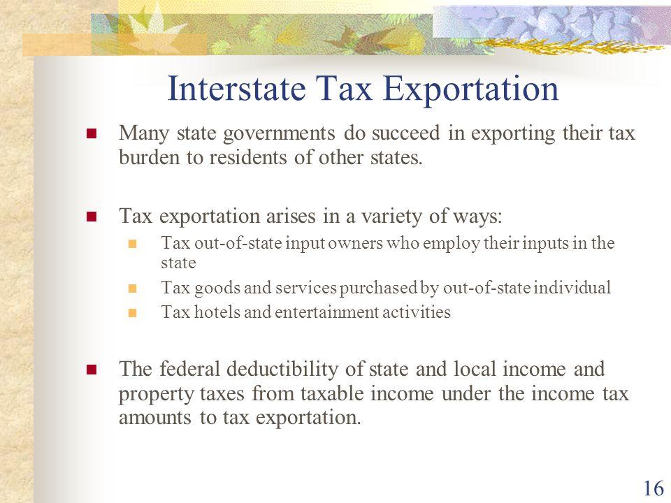 Interstate Tax Exportation