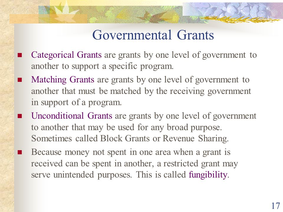Governmental Grants Categorical Grants are grants by one level of government to another to support a specific program.