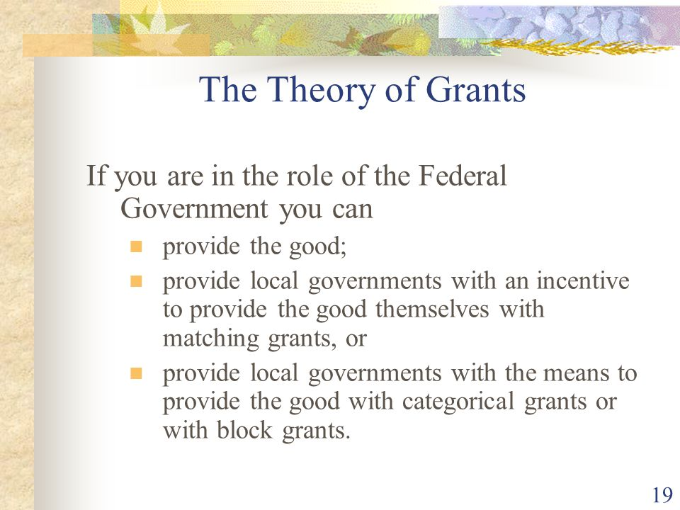 The Theory of Grants If you are in the role of the Federal Government you can. provide the good;