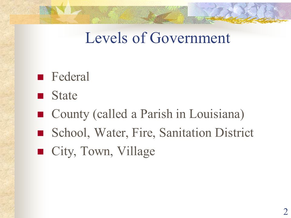 Levels of Government Federal State