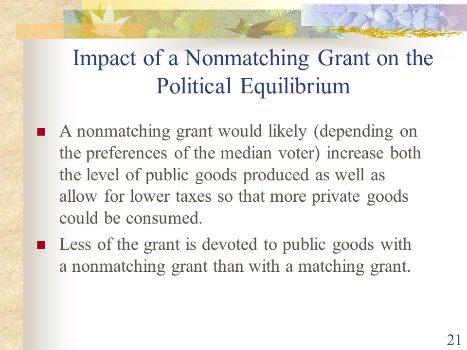 Impact of a Nonmatching Grant on the Political Equilibrium