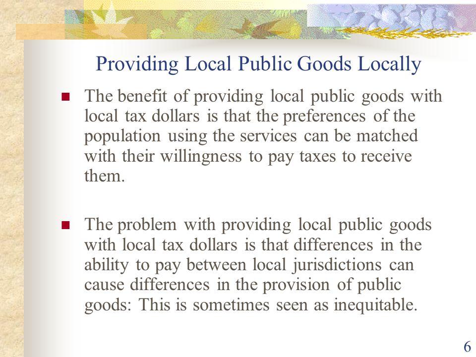 Providing Local Public Goods Locally