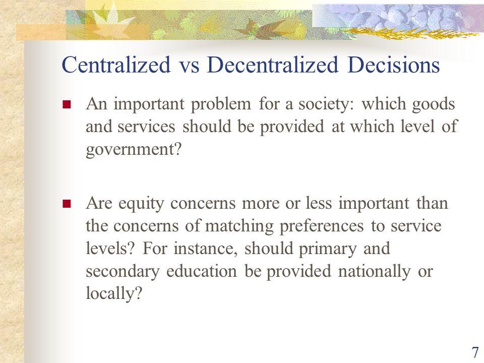 Centralized vs Decentralized Decisions