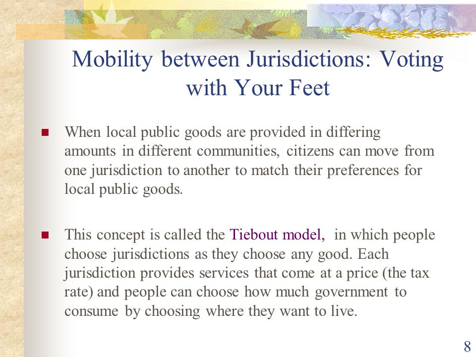 Mobility between Jurisdictions: Voting with Your Feet