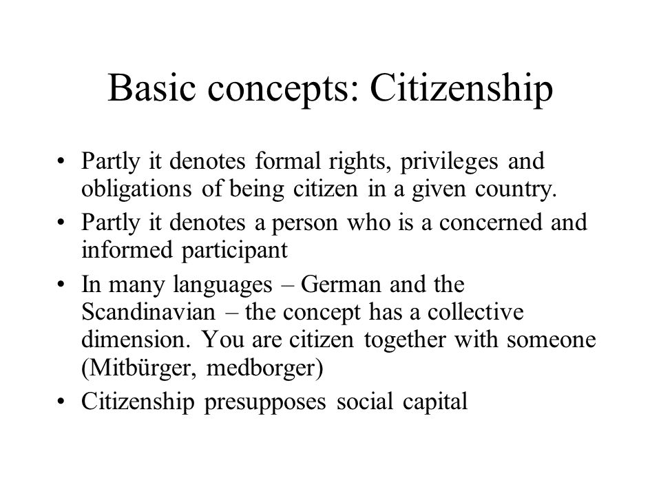 Basic concepts: Citizenship