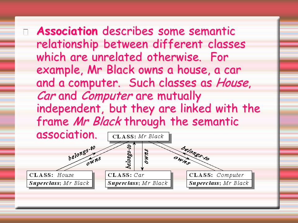 Association describes some semantic relationship between different classes which are unrelated otherwise.