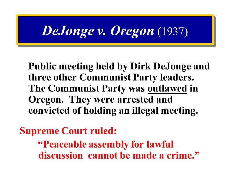 DeJonge v. Oregon (1937)