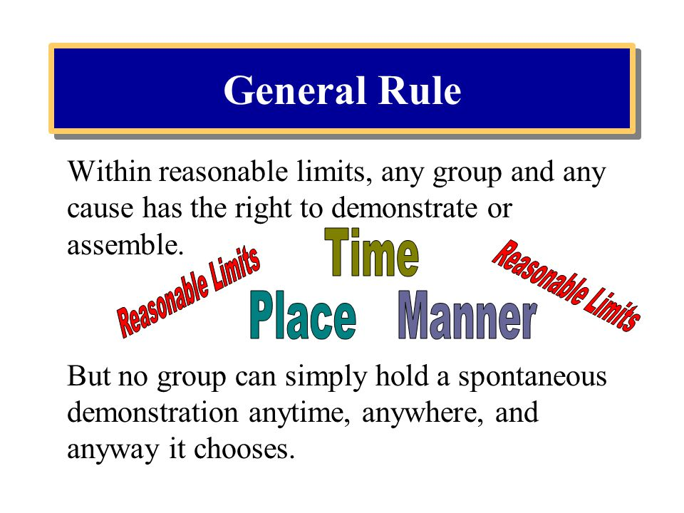 General Rule Time Reasonable Limits Reasonable Limits Place Manner