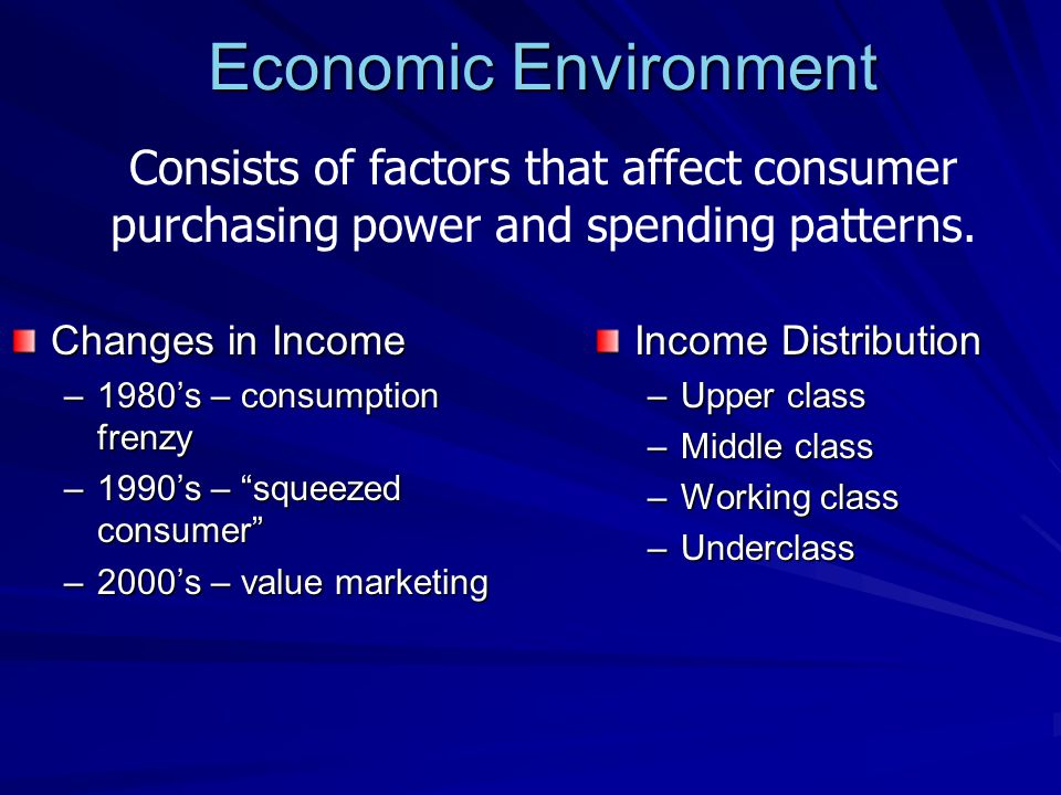 Economic Environment Consists of factors that affect consumer purchasing power and spending patterns.