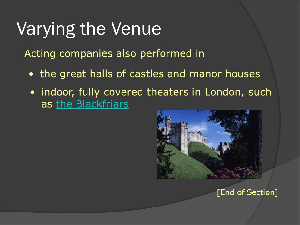 Varying the Venue Acting companies also performed in