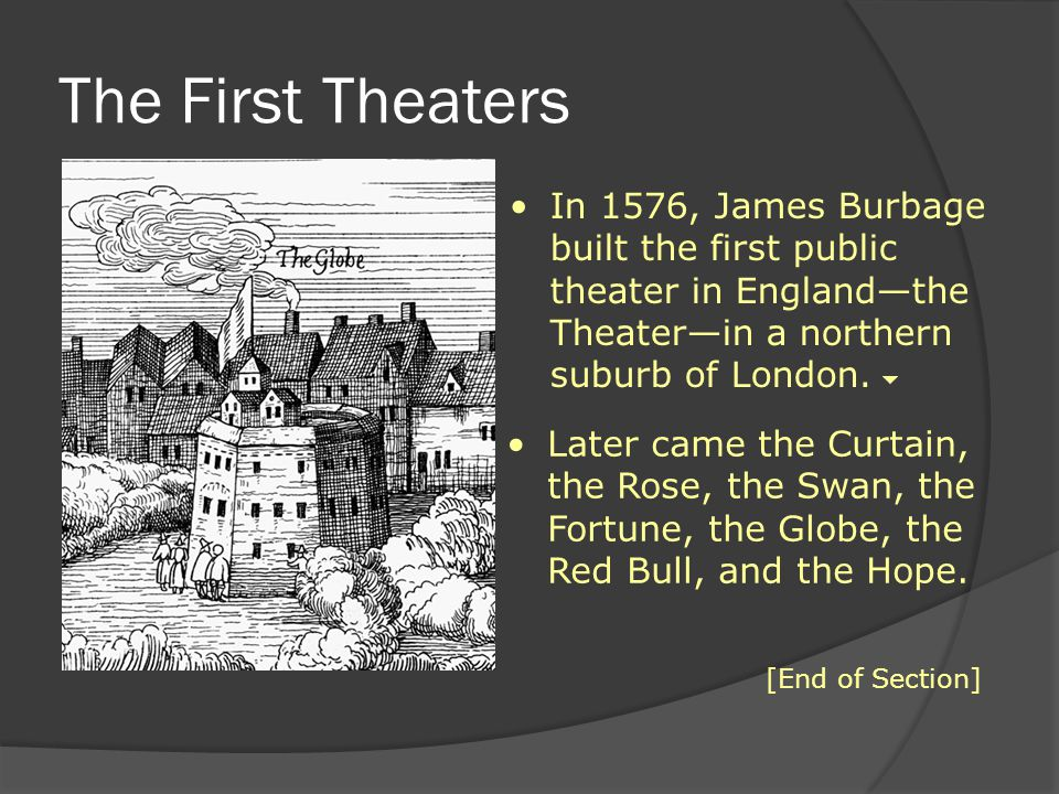 The First Theaters In 1576, James Burbage built the first public theater in England—the Theater—in a northern suburb of London.