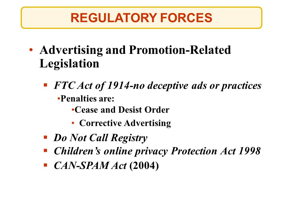 Advertising and Promotion-Related Legislation