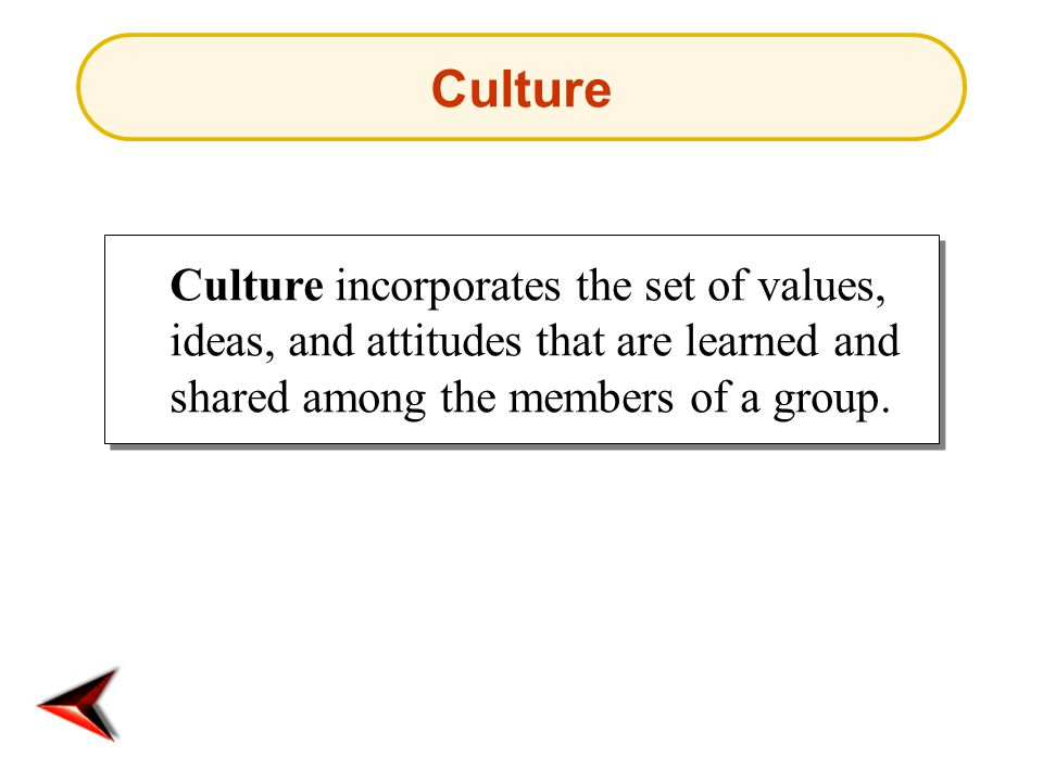 Culture Culture incorporates the set of values, ideas, and attitudes that are learned and shared among the members of a group.