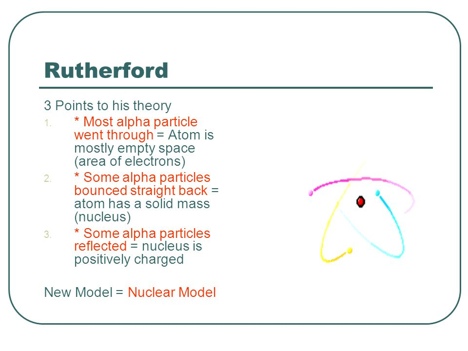 Rutherford 3 Points to his theory