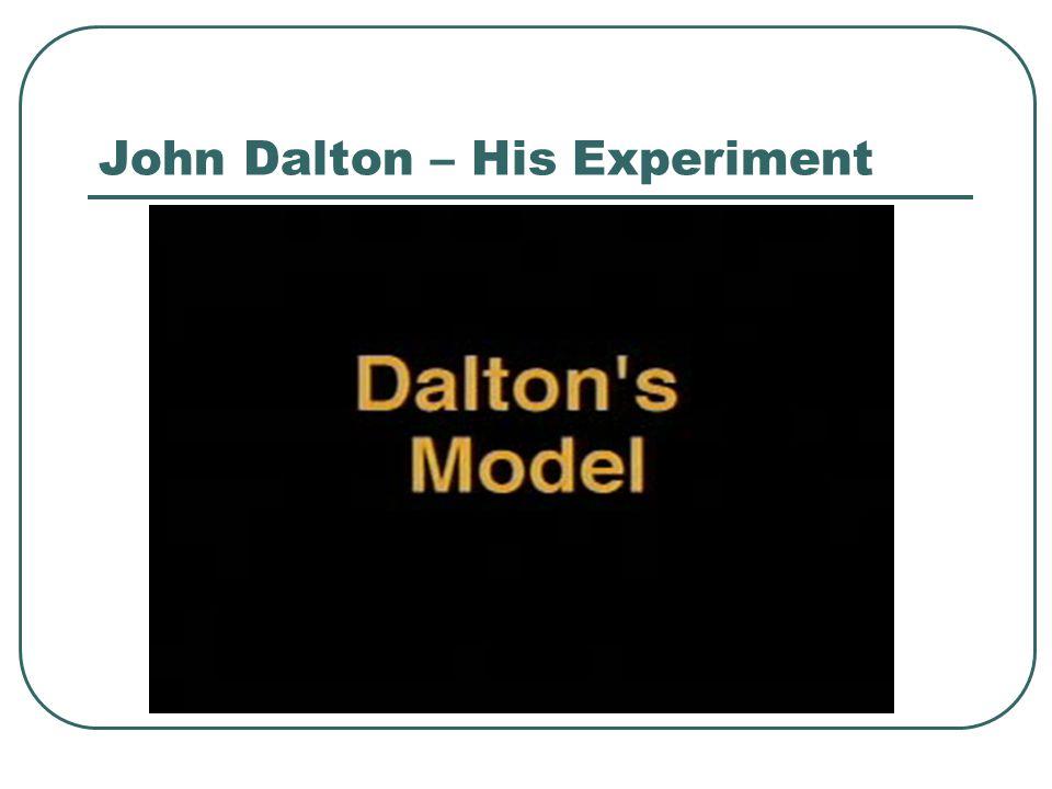 John Dalton – His Experiment