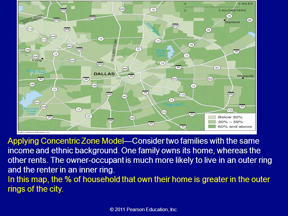 Applying Concentric Zone Model—Consider two families with the same income and ethnic background. One family owns its home, whereas the other rents. The owner-occupant is much more likely to live in an outer ring and the renter in an inner ring.