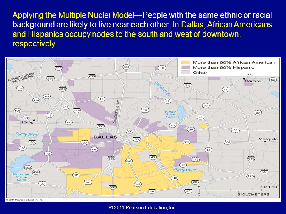 Applying the Multiple Nuclei Model—People with the same ethnic or racial background are likely to live near each other.