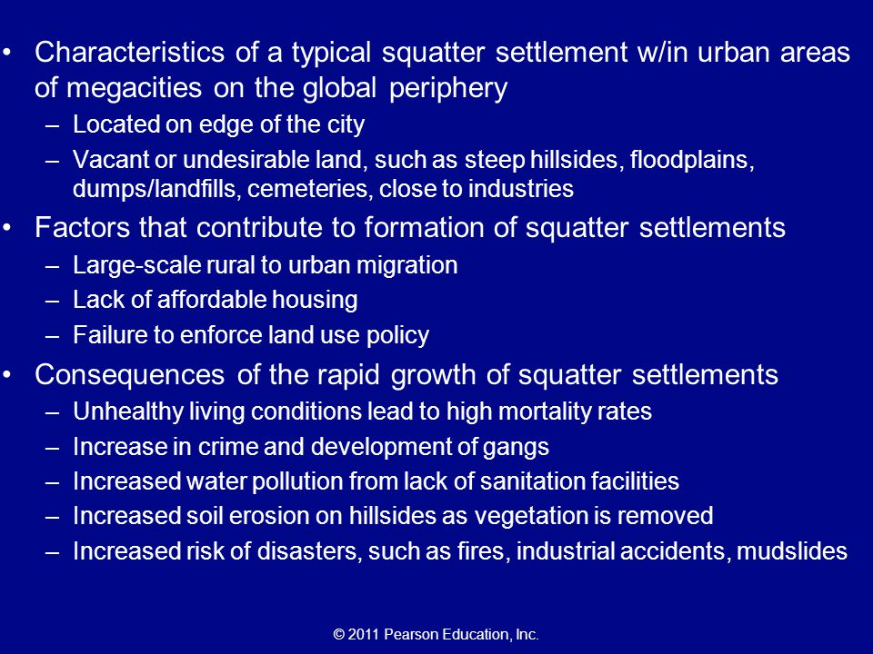 Factors that contribute to formation of squatter settlements