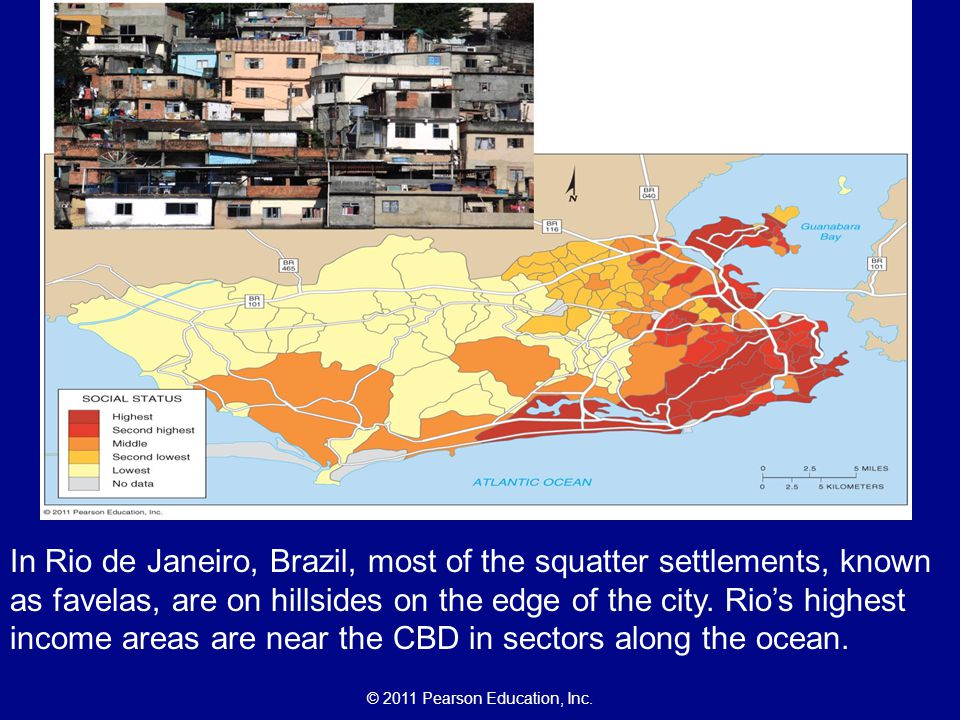 In Rio de Janeiro, Brazil, most of the squatter settlements, known as favelas, are on hillsides on the edge of the city.