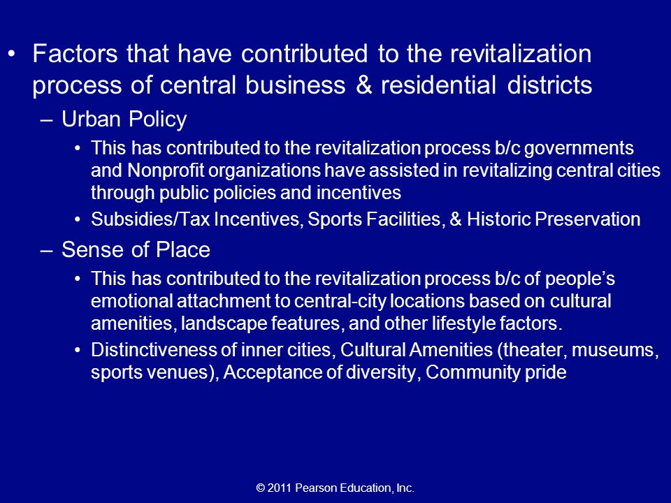 Factors that have contributed to the revitalization process of central business & residential districts