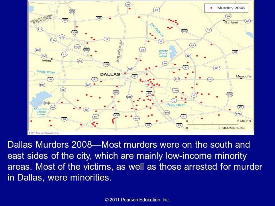 Dallas Murders 2008—Most murders were on the south and east sides of the city, which are mainly low-income minority areas.