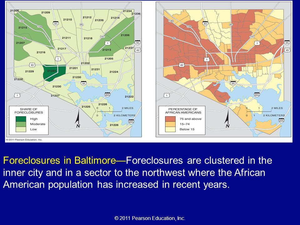 Foreclosures in Baltimore—Foreclosures are clustered in the inner city and in a sector to the northwest where the African American population has increased in recent years.
