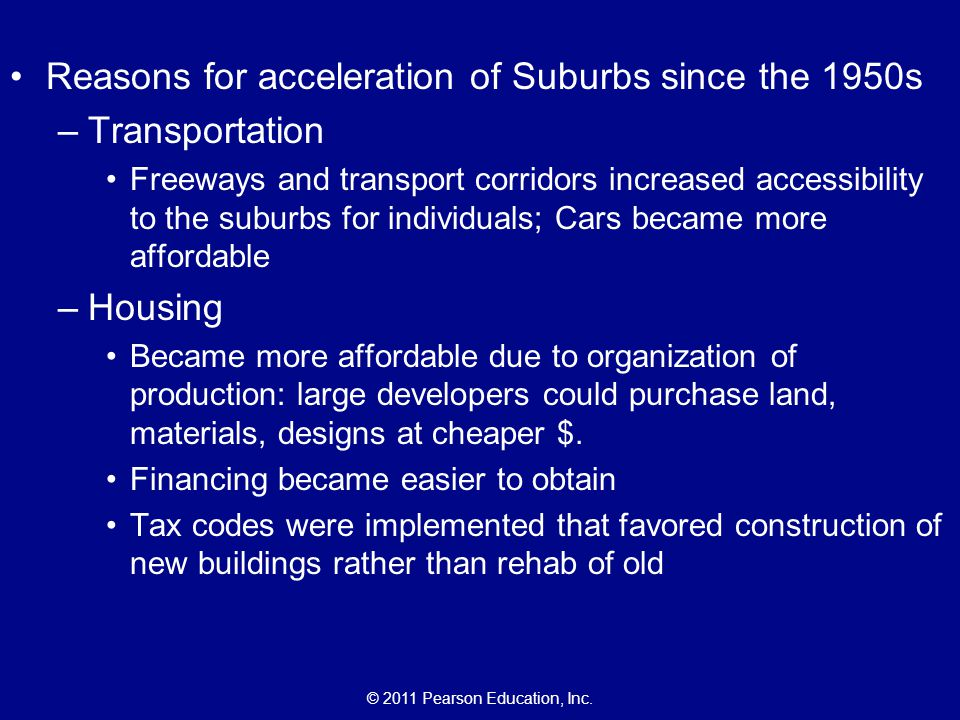 Reasons for acceleration of Suburbs since the 1950s Transportation