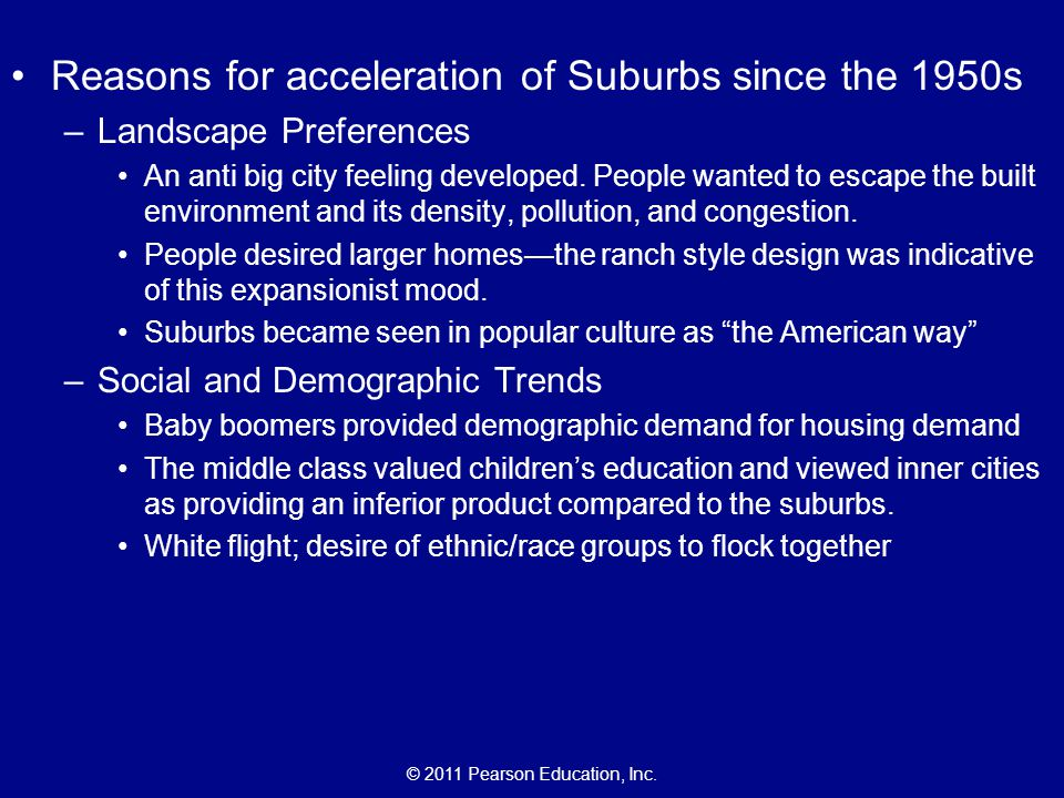 Reasons for acceleration of Suburbs since the 1950s