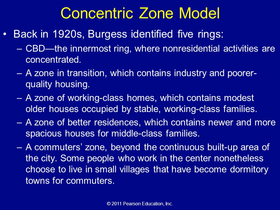 Concentric Zone Model Back in 1920s, Burgess identified five rings: