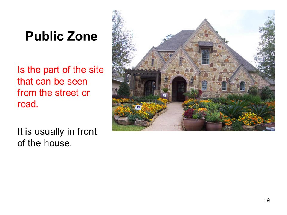 Public Zone Is the part of the site that can be seen from the street or road.