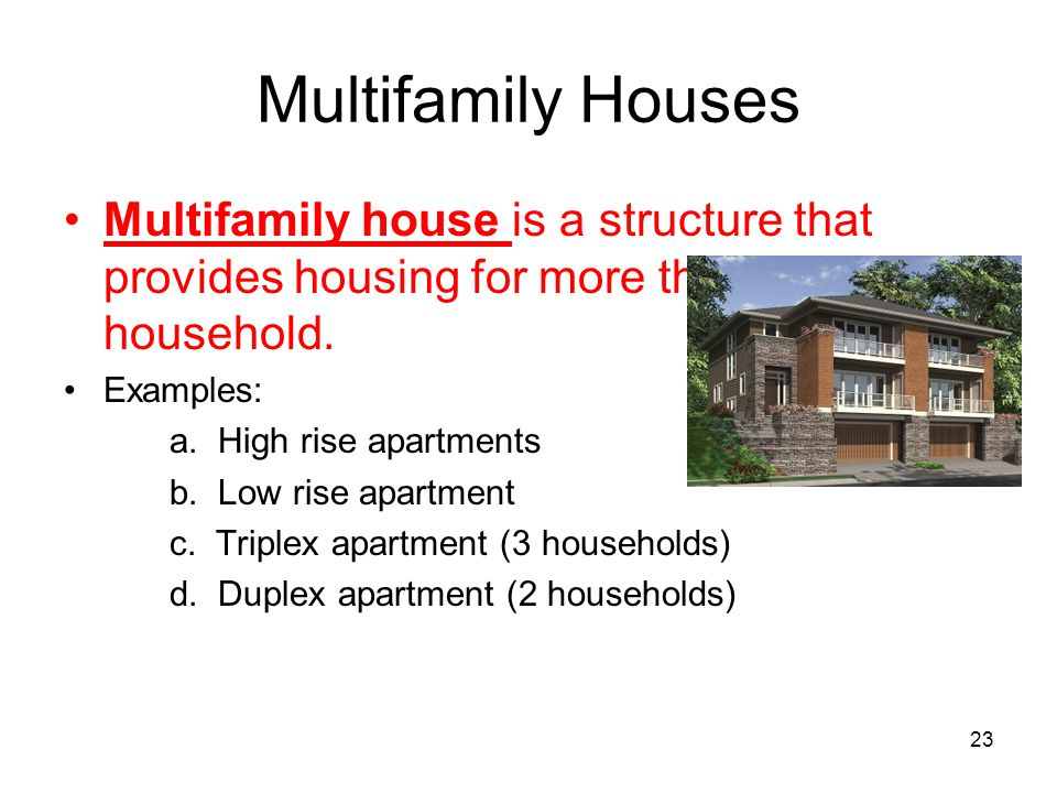 Multifamily Houses Multifamily house is a structure that provides housing for more than one household.